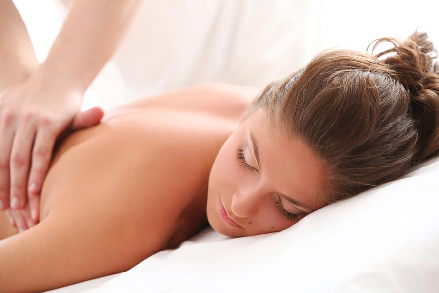 Woman is relaxing with a massage
