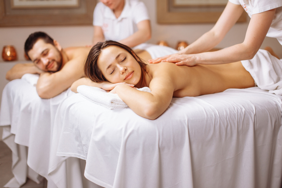 Couple relaxing with a massage